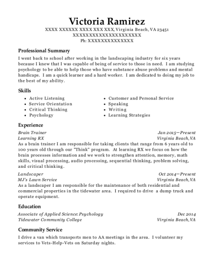 Brain Trainer resume example Virginia
