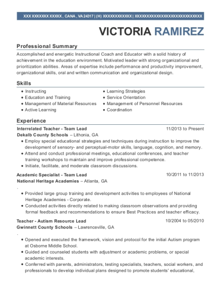 Interrelated Teacher Team Lead resume sample Virginia