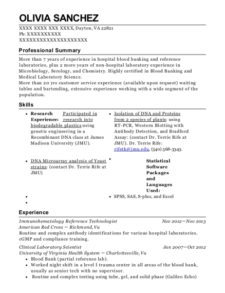 Immunohematology Reference Technologist resume format Virginia
