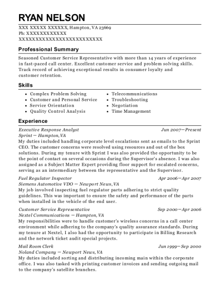 Executive Response Analyst resume format Virginia