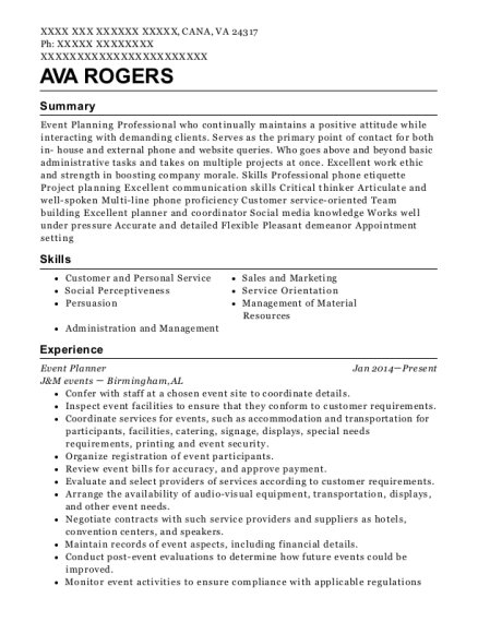 Event Planner resume template Virginia