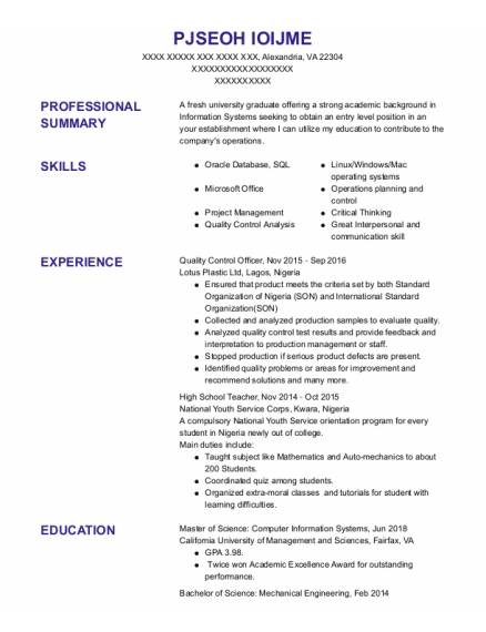Quality Control Officer resume format Virginia
