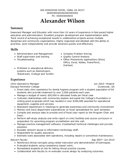 Clinic Operations Manager resume sample Virginia