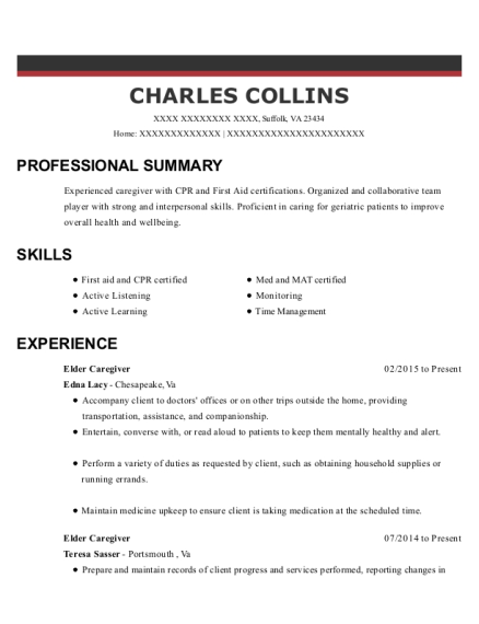 Elder Caregiver resume format Virginia