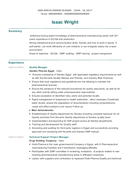 Quality Manager resume template Virginia