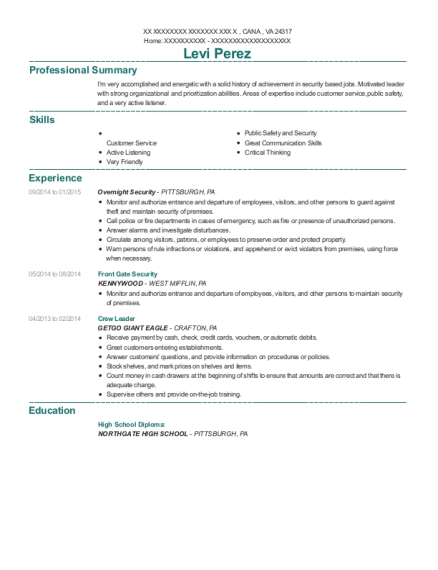 Front Gate Security resume example Virginia