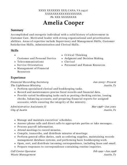 Financial Recording Secretary resume template Virginia