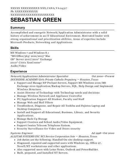 Network resume example Virginia