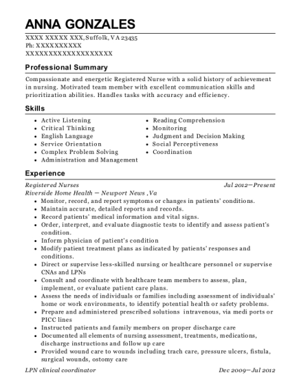 Registered Nurses resume example Virginia