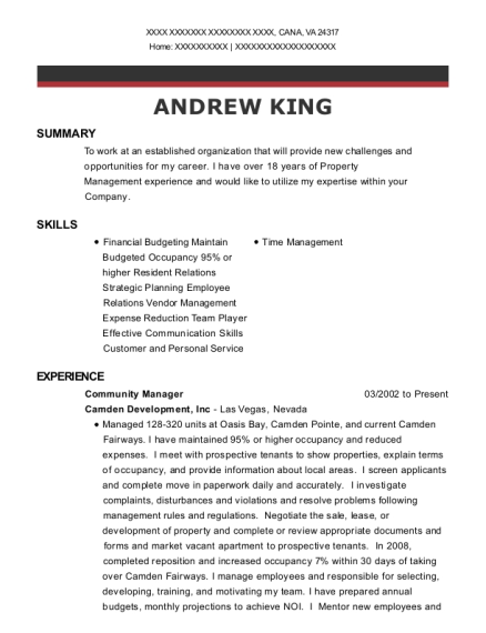 Community Manager resume sample Virginia