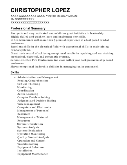 Fire Controlman 2nd Class resume format Virginia
