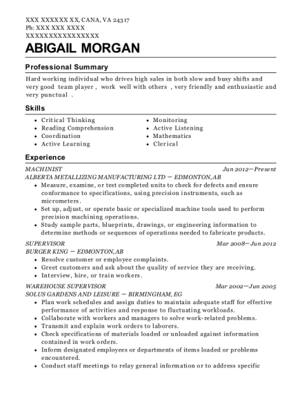 Machinist resume example Virginia