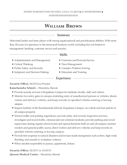 Security Officer resume template Virginia