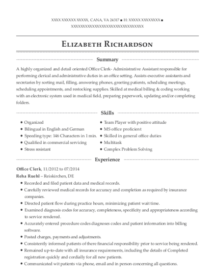 Office Clerk resume sample Virginia