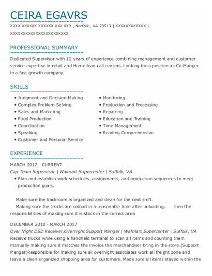 Cap Team Supervisor resume sample Virginia