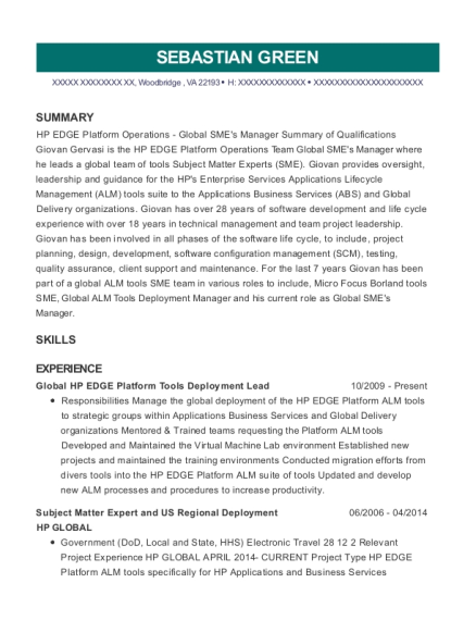 Global HP EDGE Platform Tools Deployment Lead resume sample Virginia
