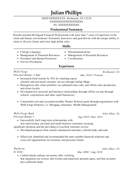 Personal Banker 2 Safe resume example Virginia
