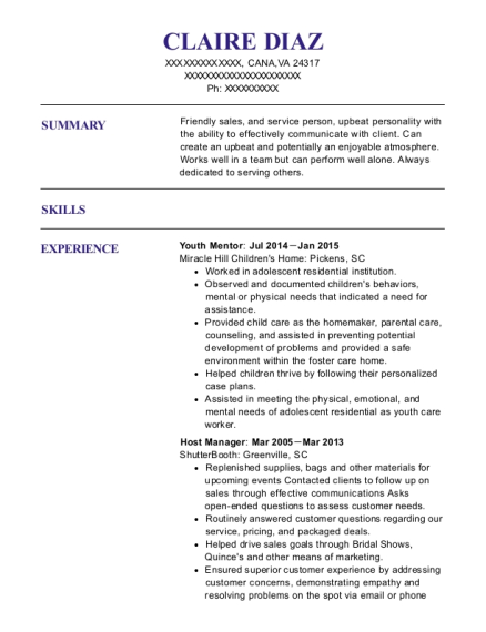 Youth Mentor resume format Virginia