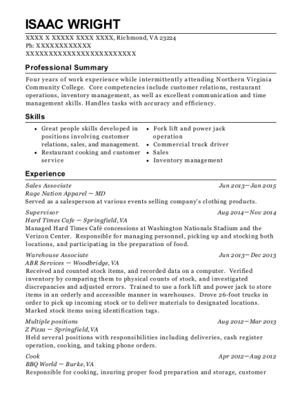 Sales Associate resume template Virginia
