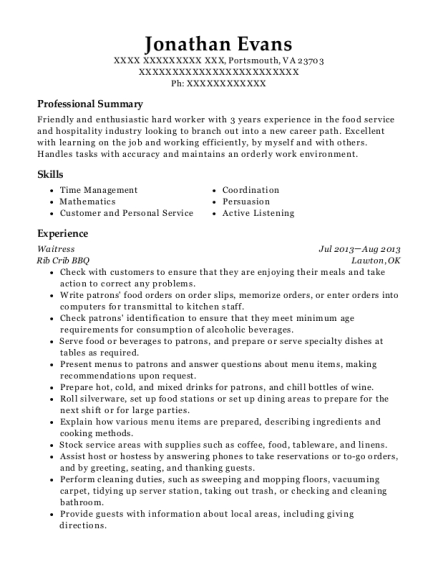 Waitress resume template Virginia