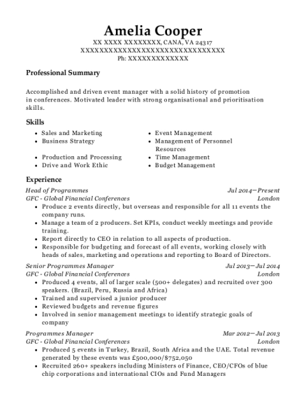 Head of Programmes resume format Virginia
