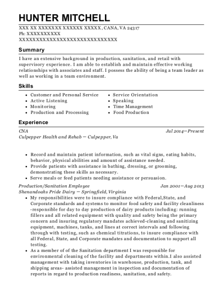 CNA resume template Virginia