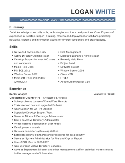 Senior Analyst resume sample Virginia