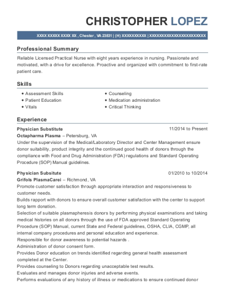 Physician Substitute resume sample Virginia