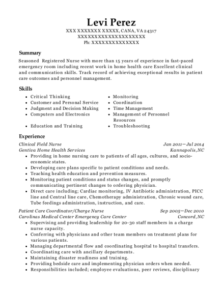 Clinical Field Nurse resume template Virginia