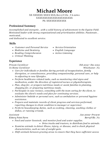 Private CareGiver resume sample Virginia