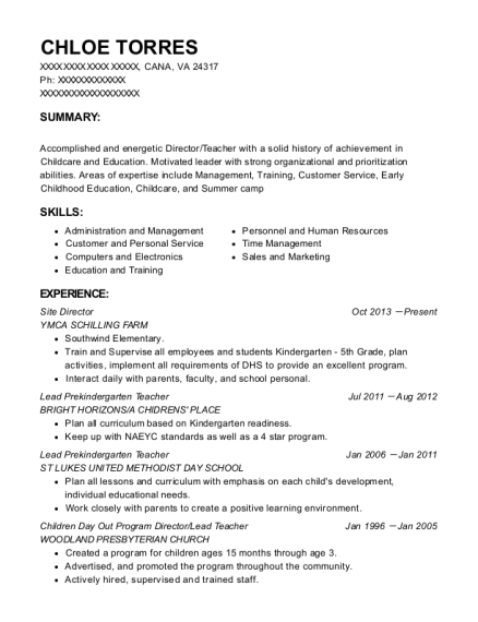 Site Director resume template Virginia