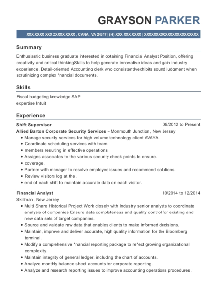 Shift Supervisor resume format Virginia