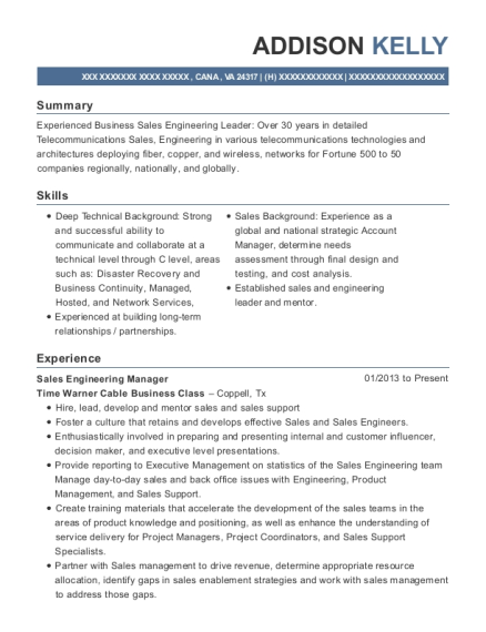Sales Engineering Manager resume sample Virginia