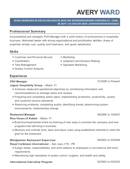 FOH Manager resume format Virginia