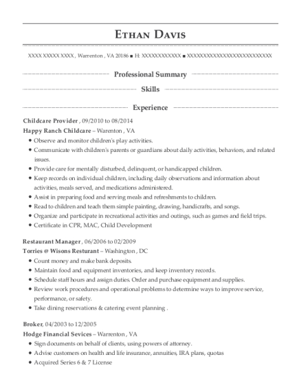 Childcare Provider resume example Virginia