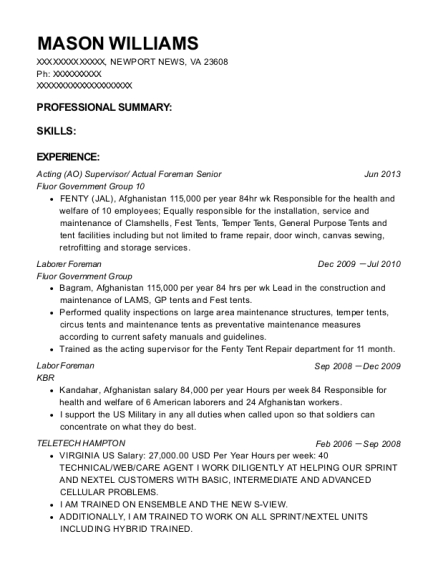 Acting Supervisor resume format Virginia