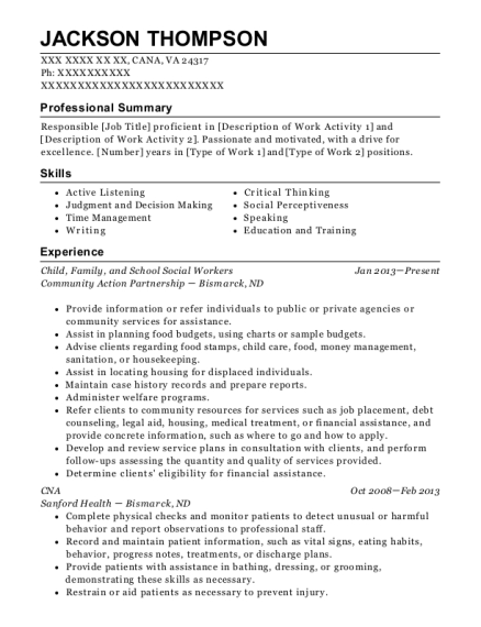 Child resume example Virginia