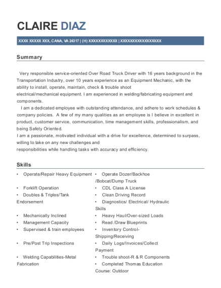 Semi Winch Truck Operator resume example Virginia