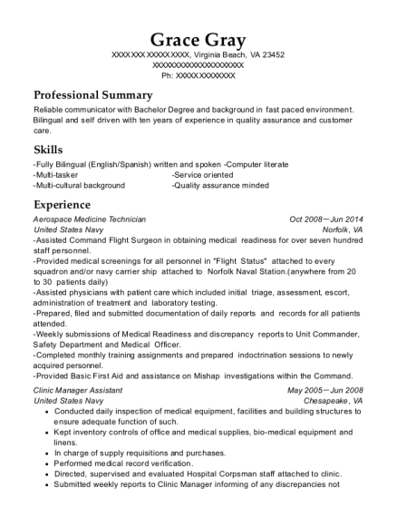 Aerospace Medicine Technician resume format Virginia