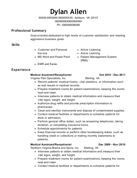 Medical Assistant resume template Virginia