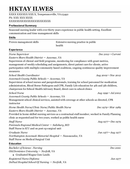 Nurse Supervisor resume format Virginia
