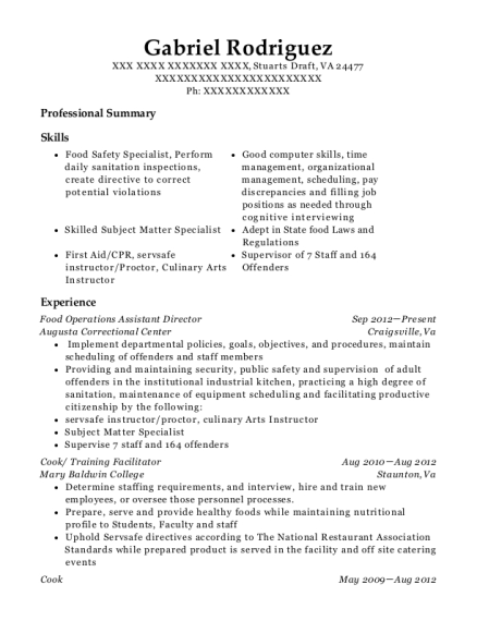 Food Operations Assistant Director resume template Virginia