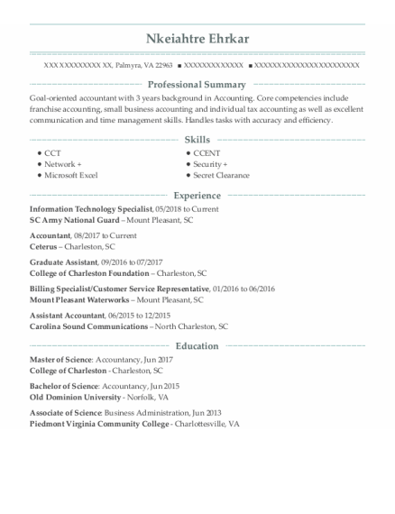 Information Technology Specialist resume template Virginia
