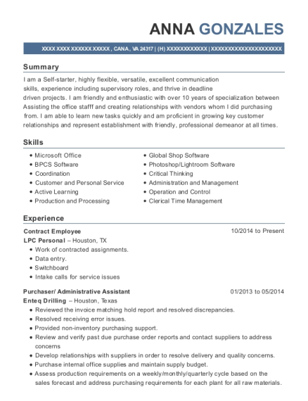 Contract Employee resume format Virginia