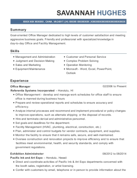 Office Manager resume template Virginia