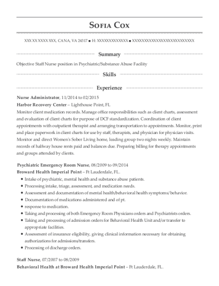 Nurse Administrator resume template Virginia