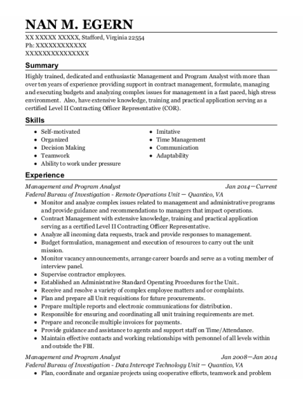 Executive Assistant resume format VIRGINIA