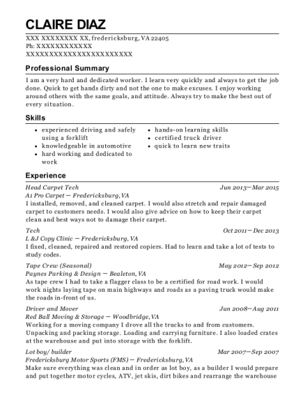 Head Carpet Tech resume sample Virginia