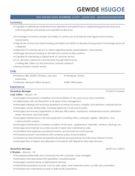 Operations Manager resume example Virginia