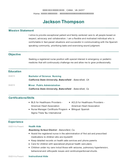 Health Aide resume sample Virginia